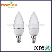 6W lâmpada de alumínio C37 tampa esmerilada, motorista E14/E27base IC, 80lm/w, 200 graus, Lâmpada Led