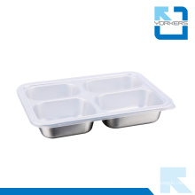 Stainless Steel 4 Compartmens Lunch Tray for Kids or Adults
