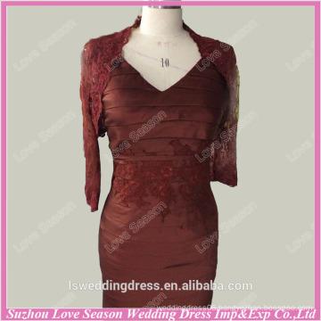 RP0058 Sleeve lace appliqued V neckline sheath style ruched taffeta knee length red short prom dress bolero jacket prom dress