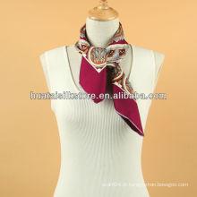 Silk Twill 90 * 90 Paisley mão rolado lenço