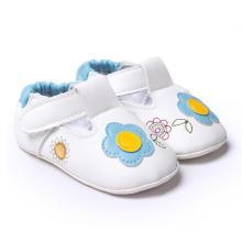 Sapatos de Bebê Branco Macio Sole Anti-Escorregar 0-1 Ano Infantil Mocassins