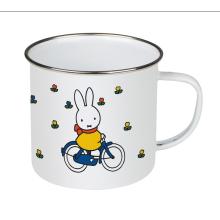 Tasse d'émail faite sur commande d'impression de logo, tasse faite sur commande de camping d'émail d'acier, tasse d'émail d'impression de licorne / chat