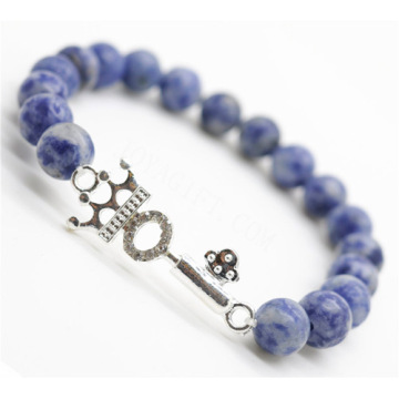 Sodalite Gemstone Bracelet with alloy key Piece