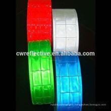 Ruban pvc réfléchissant coloré à carreaux personnalisé pour tissu