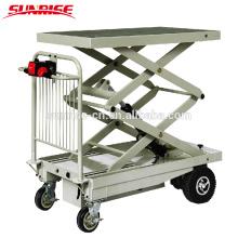 Carro de plataforma eléctrico con doble elevación de tijera