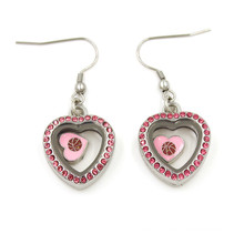 Lovely Heart Floating Locket Pendant Dangles Earrings for Girls
