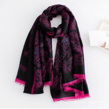 Women Fashion Paisley Printed Viscose Silk Scarf (YKY1129)
