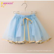 Mädchen Seide Trim Kordelzug kurze Röcke Kinder weit aus plissierten gefütterten kurzen Röcke