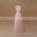 Front split peach chiffon bridesmaid dress