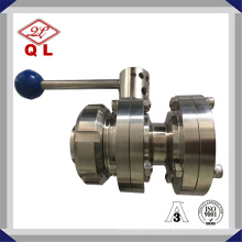 Food Grade Sanitary Stainless Steel Flanged Butterfly Valve with Union