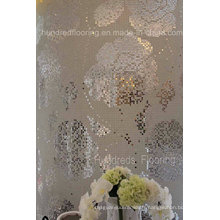Carré de motif de mosaïque en verre rose de modèle de fleur (HMP799)