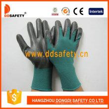 Dunkelgrünes Nylon mit schwarzem Nitril-Handschuh Dnn814