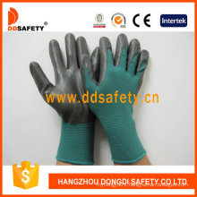 Dark Green Nylon with Black Nitrile Glove Dnn814