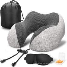 Almohada de viaje Almohada de cuello de espuma viscoelástica 100% pura, funda cómoda y transpirable, lavable a máquina, kit de viaje en avión con máscaras para los ojos contorneadas en 3D, tapones para los oídos, a