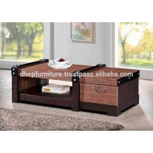 Mesa de café em madeira com prateleira e gaveta