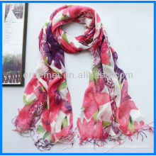 lady floral printed linen scarf for sale