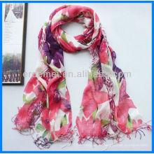 Леди цветочные печати льняного шарфа для продажи