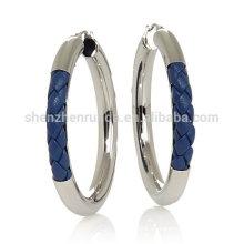 Pendientes azules al por mayor del aro del acero inoxidable del pendiente del cuero de la trenza para el surtidor de la joyería de las mujeres