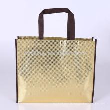 Eco, das metallische lamellierte nicht gesponnene Taschen-EinkaufsTaschen-Taschen-Lebensmittelgeschäft für Förderung, Supermarkt aufbereitet