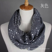 Lady Fashion Silver Stamping Cotton Voile Infinity Scarf (YKY1089-1)