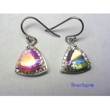 Fashion Mystic Quartz 925 Sterling Silver Earrings (E1270)
