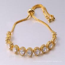Meilleur prix de haute qualité blanc Cz or jaune Bracelet de mariage
