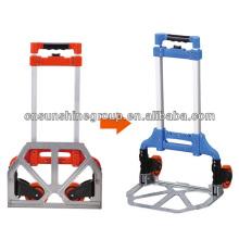 Aluminum tube foldable trolley for luggage
