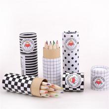 crayon hb bois couleur 12 avec tube de papier