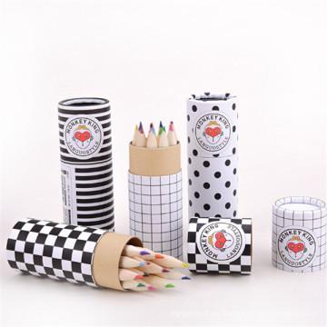 lápiz de madera 12 color hb con tubo de papel