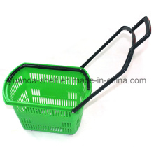 Supermarket Plastic Shopping Rolling Hand Basket with Wheels
