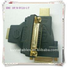 Gold überzogener HDMI 19P / F-DVI24 + 1 / MM / F DVI 24 + 1 zum HDMI Adapter-Konverter