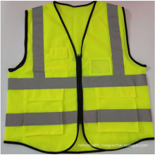 Reflective mesh fabric vest with pocket