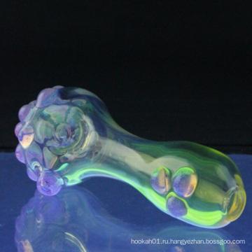 Стеклянная дымчатая ложка для дыма с фиолетовыми точками слизи (ES-HP-064)