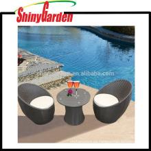 Jardín de moda 3 piezas de acero marco huevo forma ratán / mimbre sofá
