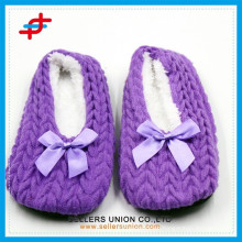 Fashion Heel Knitted Upper Indoor Slipper for Women and Girls