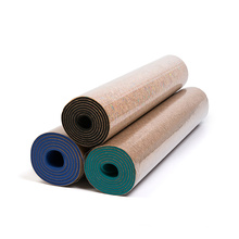 Chinese supplier 6 mm non-slip durable lightweight eco friendly tpe cork yoga mat with double layer