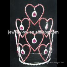 Tiaras nupciales de la corona de la corona de la belleza de las señoras al por mayor con el Rhinestone, corona del desfile de encargo