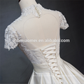 Beautiful lace short sleeve organz skirt cheap wholesale modest wedding dress