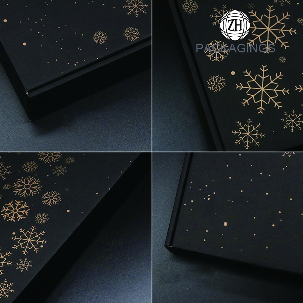 Customized matt black gold stamping mailer box