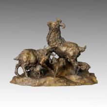 Бронзовая скульптура животных Овцы / козы Семья Украшение Статуя латуни Tpal-006