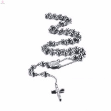 Rosary silver celtic cross stainless steel pendant necklace