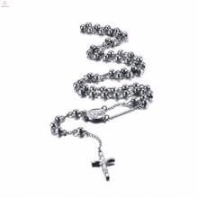 Rosário prata cruz celta pingente de aço inoxidável colar