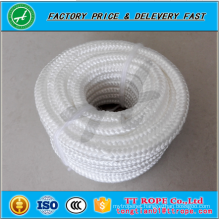 high quality white color 16 strands diamond braided polyester rope