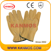 Industrial Safety Yellow Cowhide Grain Leather Driver Work Gloves (12204)