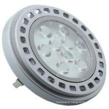 AR111, 9 LED haute puissance, 11W, 700lm (3000k) Finition argent