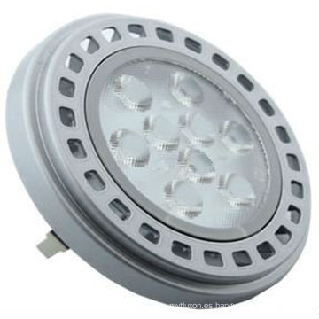 AR111, 9 LED DE ALTA POTENCIA, 11W, 700lm (3000k) Acabado plateado