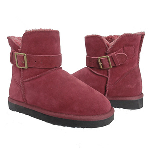 Factory Supplier for Womens Leather Winter Boots Women's Flat Ankle Snow Boots Suede Buckle export to Algeria Exporter