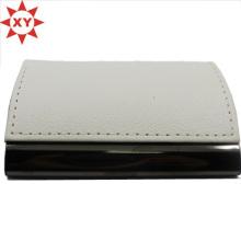 Tarjetero de cuero blanco Tarjetero metálico para tarjetas de identificación Tarjetero