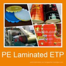 PVC laminado de hojalata para pintura pueden del cuerpo y la tapa