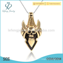 Programmable style gold plated stainless steel pendant,custom skull logo pendant